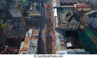 Nova Poshta Kyiv Half Marathon. Aerial view. - Nova Poshta...
