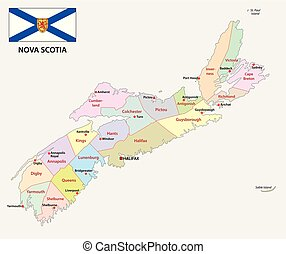 nova scotia administrative and political vector map with...