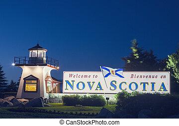 Nova Scotia sign at night. Nova Scotia, Canada.