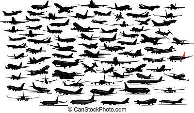 novanta, aeroplano, silhouettes., vettore, illustration.