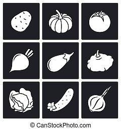 nove, ícones, legumes, jogo, vetorial