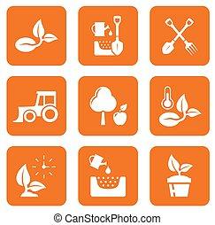 nove, agricultura, ícones