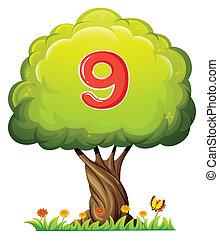 nove, albero, numero, figura