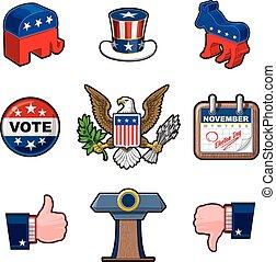 nove, americano, eleições, ícones