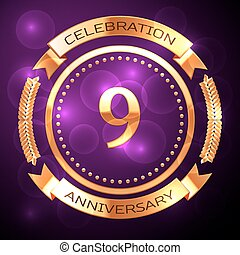 nove, anni, celebrazione anniversario, con, dorato, anello, e, nastro, su, viola, fondo.