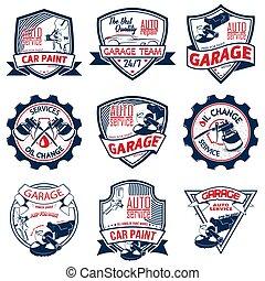 nove, auto repare, logotipo, cor