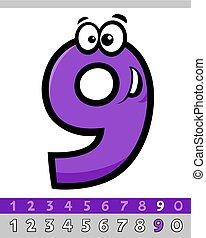 nove, carattere, numero, cartone animato