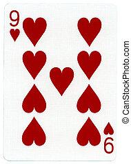 nove, -, cartão jogando, corações