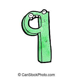 nove, cartone animato, numero