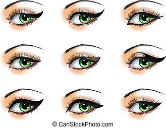 nove, diferente, eyeliners, jogo