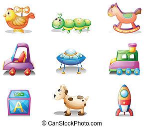 nove, differente, giocattoli, per, bambini