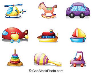 nove, differente, tipo, di, giocattoli