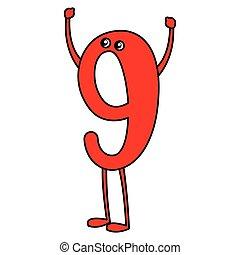 nove, disegno, cartone animato, numero