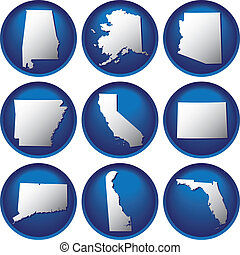 nove, estados unidos, botões