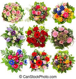 nove, flores coloridas, buquet, branco