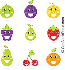 nove, fruta, isolado, -, fruity, ícone, cobrança, mascotes, branca