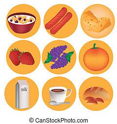 nove, icone, per, colazione