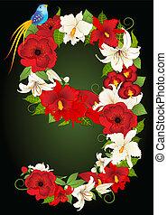 nove, illustrazione, vettore, floreale