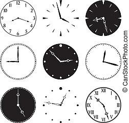 nove, relógio, caras mãos