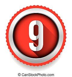 nove, vettore, distintivo, numero