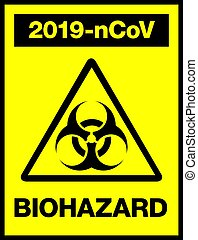 Novel Coronavirus, 2019-nCoV, Biohazard Poster. Attention Sticker. News Headline.