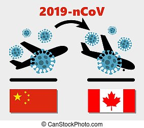 Novel coronavirus 2019-nCoV , icon of departure of coronavirus-charged plane from China and arriving in Canada. pandemic concept of international contamination with biologically weapons