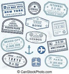 Novelty passport stamps