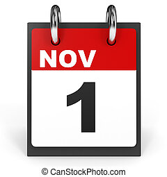 November 1. Calendar on white background.