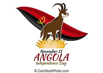 November 11, Independence day of Angola vector illustration. Suitable for greeting card, poster and banner.