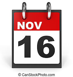 November 16. Calendar on white background. 3D illustration.