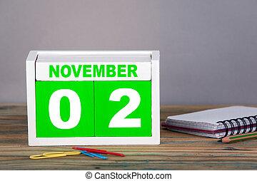 november, 2., close-up, houten, kalender