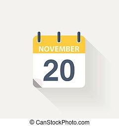 november, 20, kalender, pictogram