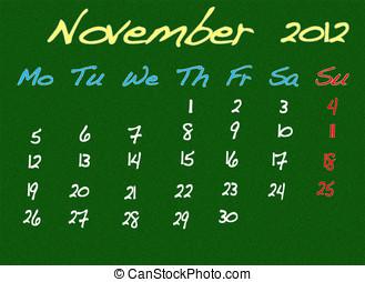 November 2012. - Calendar 2012, November.