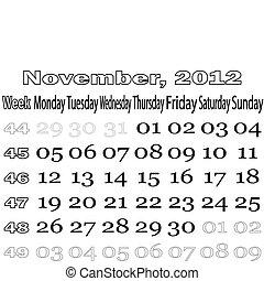 November 2012 monthly calendar