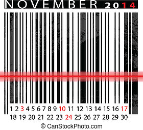 NOVEMBER 2014 Calendar, Barcode Design. vector illustration