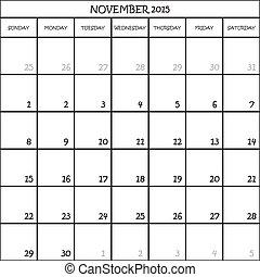 NOVEMBER 2015 CALENDAR PLANNER MONTH ON TRANSPARENT BACKGROUND