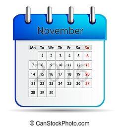 November 2016 calendar on a white background