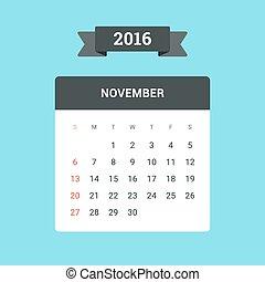 November Calendar 2016. Vector flat design template, ready to print