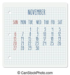 November 2016 vector monthly calendar on a squared notebook page. Week starting from Sunday. Hand written typography.
