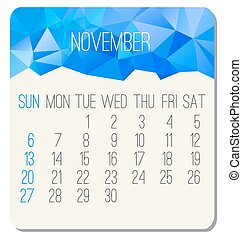 November 2016 vector monthly calendar. Week starting from Sunday. Contemporary low poly design in blue color.