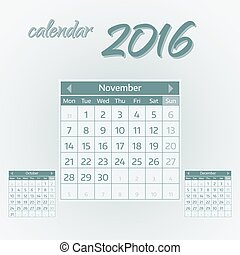 November 2016. Simple european calendar for 2016 year one month grid. Vector illustration.