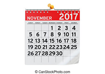 November 2017 calendar, 3D rendering isolated on white...