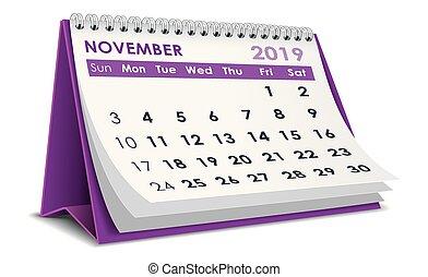 November 2019 calendar - November 2019 3D desktop calendar...