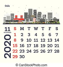 November 2020 Calendar Template with Oslo City Skyline.