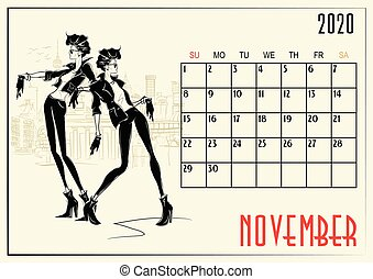 November. 2020 Calendar with fashion girl. Vector ...