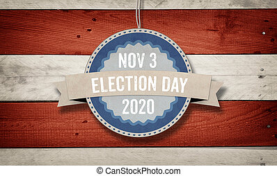 November 2020 election date, US American flag concept background