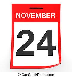 November 24. Calendar on white background. 3D illustration.
