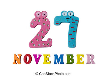 November 27 on white background, numbers and letters.