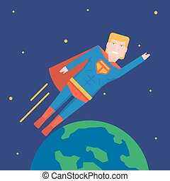 November 9, 2017. Editorial illustration of the USA president Donald Trump flying around the Earth in superhero costume.