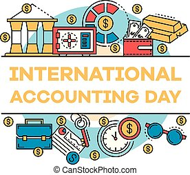 November accounting day banner, outline style